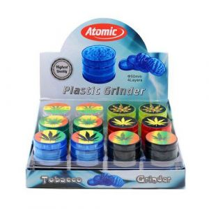 Atomic Grinder 4 part 5cm Plastic Leaf Logo