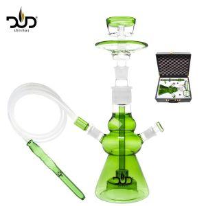 Ναργιλές/Shisha DUD Glass Green with Luxury Leather Box Green 45cm