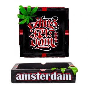 Amsterdam Τασάκι Clay Ashtray Black With Amsterdam Logo