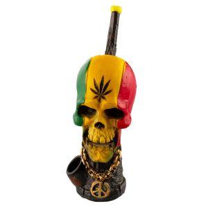 Amsterdam Pipe Rasta Skull L:18cm