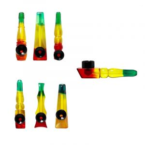 Pipe Acrylic Rasta  Mix Colors 8cm