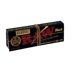 Raw Black Connoisseur Τσιγαρόχαρτα + Τζιβάνες 1.1/4  50 φύλλα