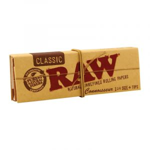 Raw Classic Connoisseur Τσιγαρόχαρτα 1 1/4 &Τζιβάνες 32 φύλλα